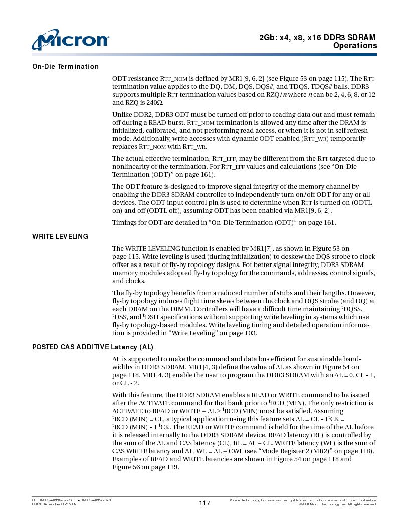 MT41J128M16HA-187E:D ,Micron Technology Inc厂商,IC DDR3 SDRAM 2GBIT 96FBGA, MT41J128M16HA-187E:D datasheet预览  第117页