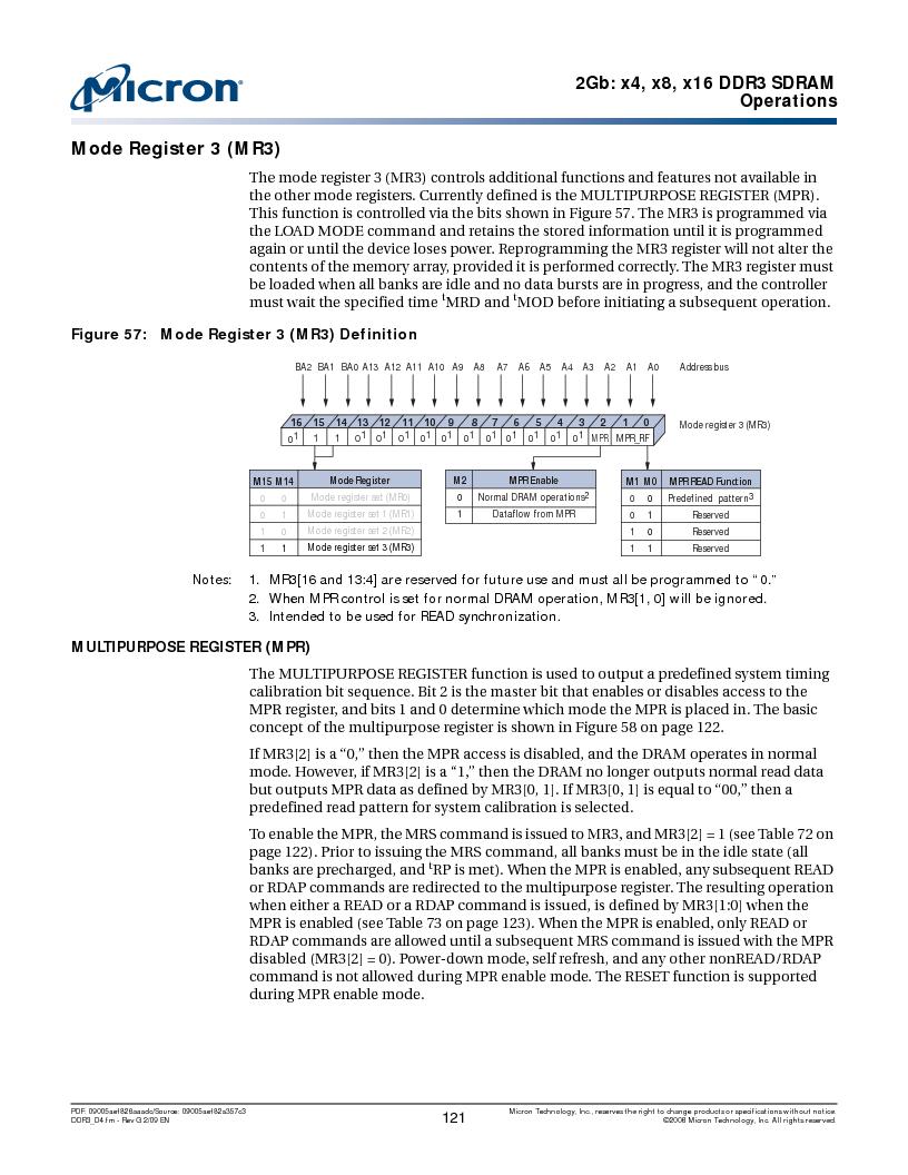 MT41J128M16HA-187E:D ,Micron Technology Inc厂商,IC DDR3 SDRAM 2GBIT 96FBGA, MT41J128M16HA-187E:D datasheet预览  第121页