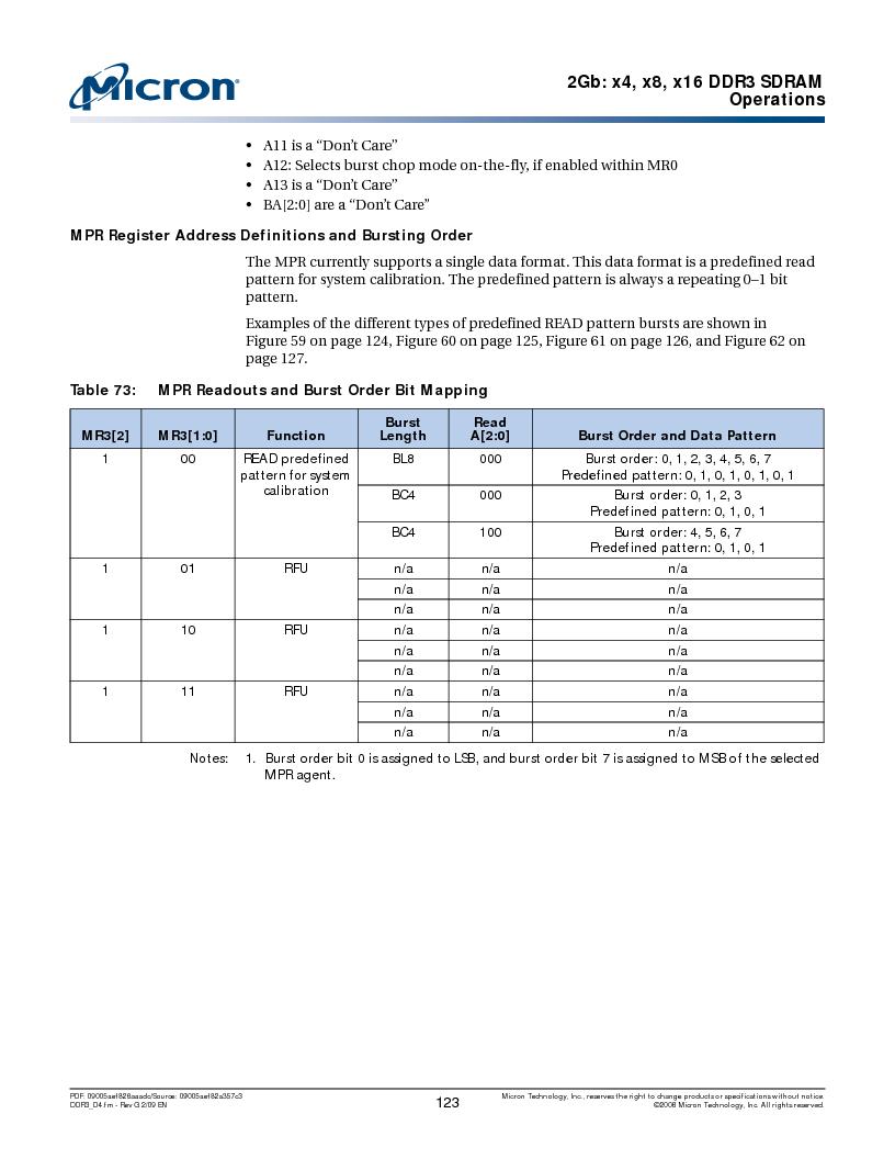 MT41J128M16HA-187E:D ,Micron Technology Inc厂商,IC DDR3 SDRAM 2GBIT 96FBGA, MT41J128M16HA-187E:D datasheet预览  第123页