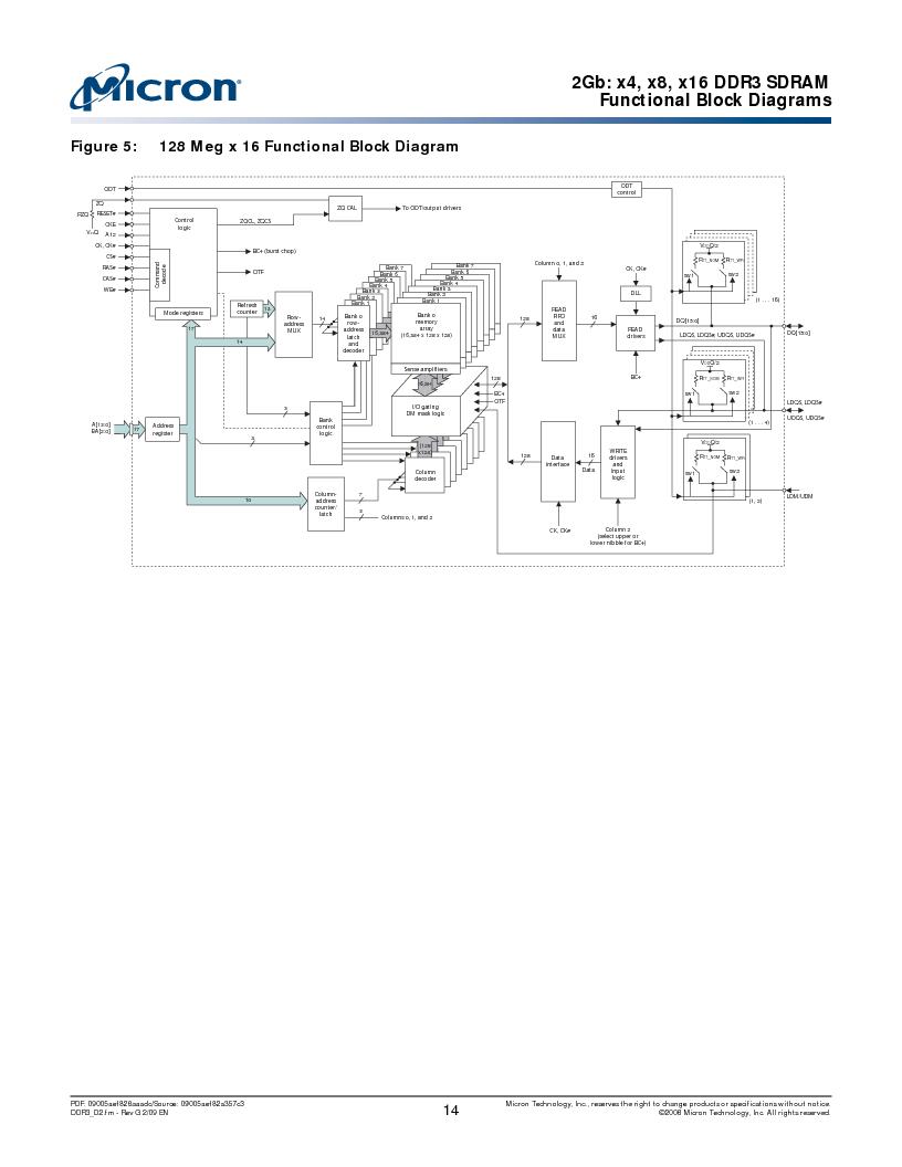 MT41J128M16HA-187E:D ,Micron Technology Inc厂商,IC DDR3 SDRAM 2GBIT 96FBGA, MT41J128M16HA-187E:D datasheet预览  第14页