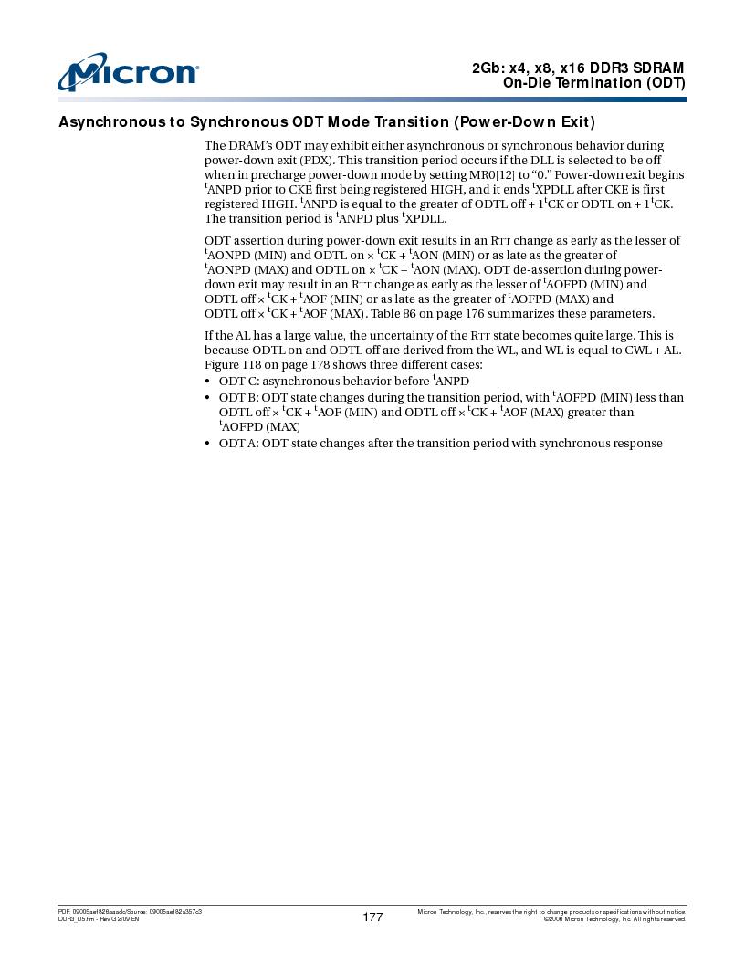MT41J128M16HA-187E:D ,Micron Technology Inc厂商,IC DDR3 SDRAM 2GBIT 96FBGA, MT41J128M16HA-187E:D datasheet预览  第177页