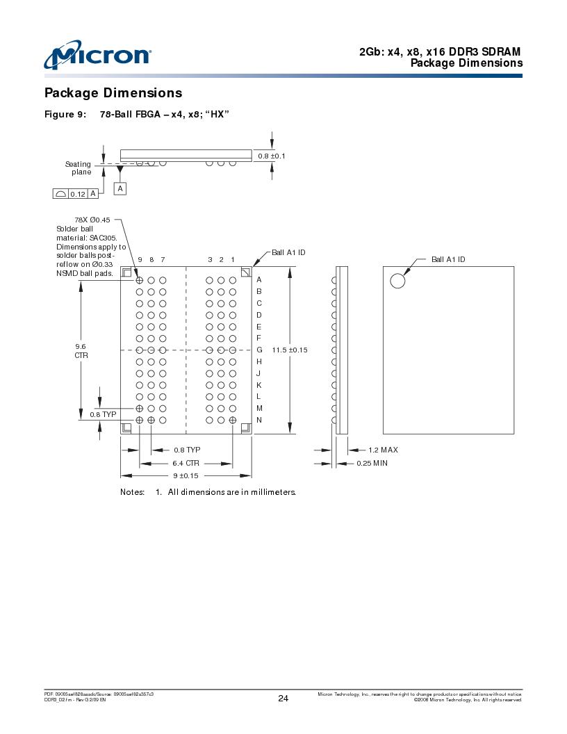 MT41J128M16HA-187E:D ,Micron Technology Inc厂商,IC DDR3 SDRAM 2GBIT 96FBGA, MT41J128M16HA-187E:D datasheet预览  第24页