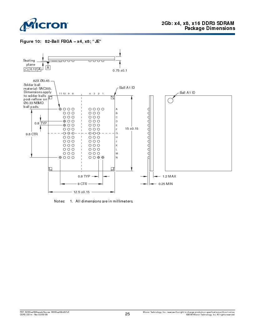 MT41J128M16HA-187E:D ,Micron Technology Inc厂商,IC DDR3 SDRAM 2GBIT 96FBGA, MT41J128M16HA-187E:D datasheet预览  第25页