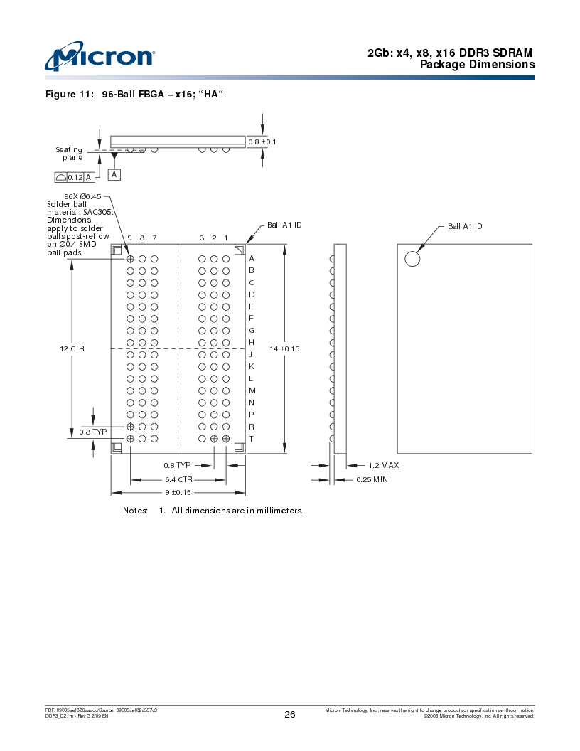 MT41J128M16HA-187E:D ,Micron Technology Inc厂商,IC DDR3 SDRAM 2GBIT 96FBGA, MT41J128M16HA-187E:D datasheet预览  第26页