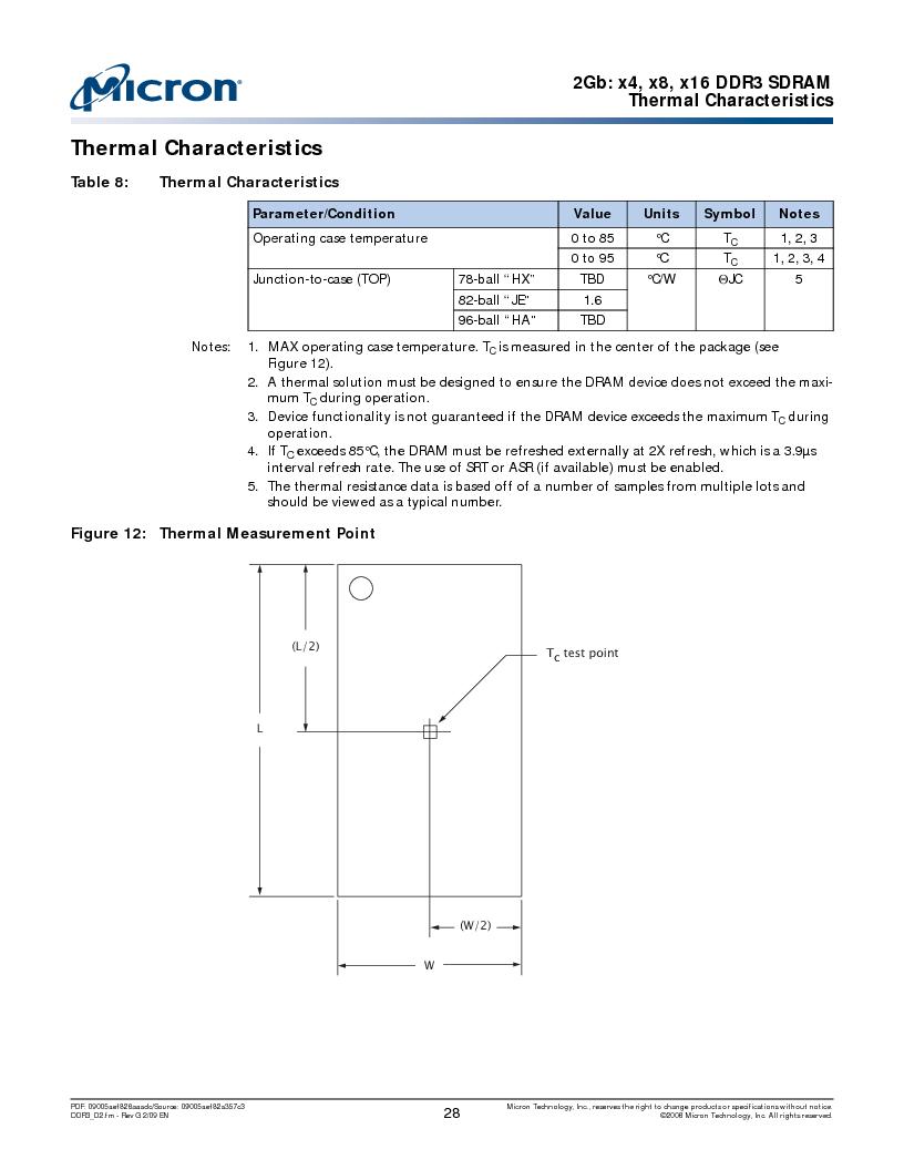 MT41J128M16HA-187E:D ,Micron Technology Inc厂商,IC DDR3 SDRAM 2GBIT 96FBGA, MT41J128M16HA-187E:D datasheet预览  第28页