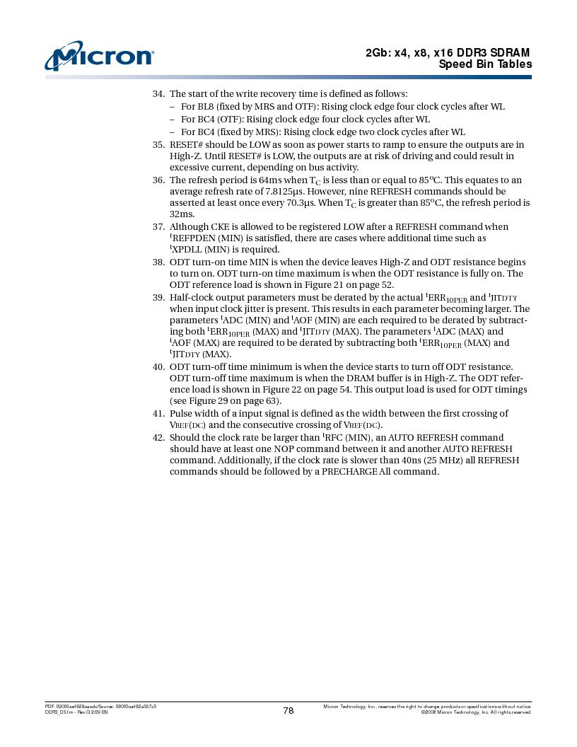 MT41J128M16HA-187E:D ,Micron Technology Inc厂商,IC DDR3 SDRAM 2GBIT 96FBGA, MT41J128M16HA-187E:D datasheet预览  第78页