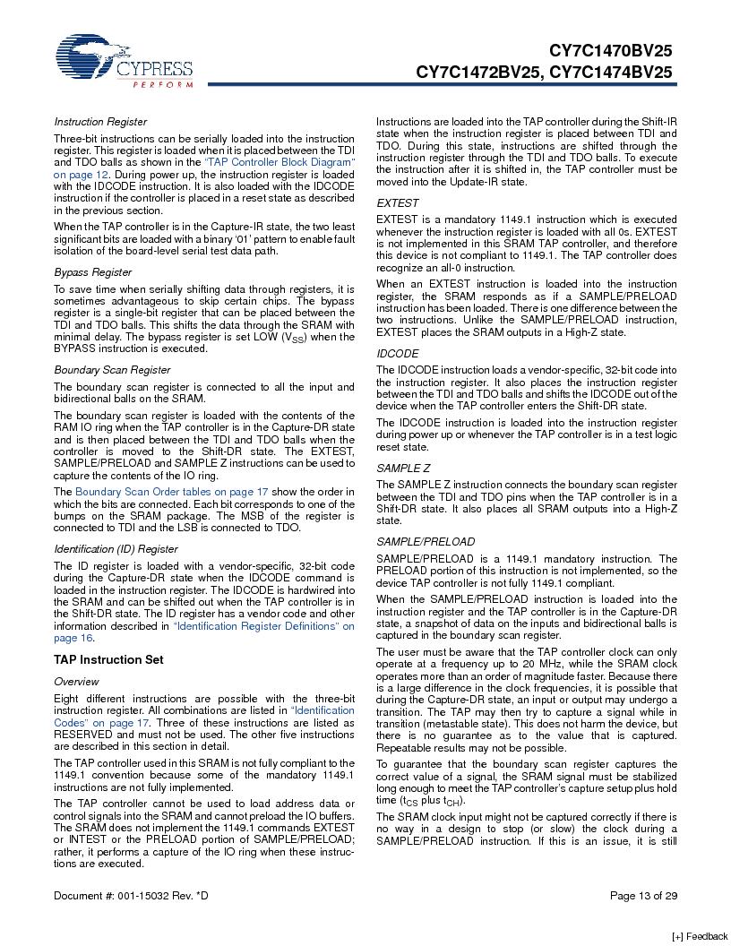 CY7C1470BV25-167BZCT ,Cypress Semiconductor Corp厂商,IC SRAM 72MBIT 167MHZ 165LFBGA, CY7C1470BV25-167BZCT datasheet预览  第13页