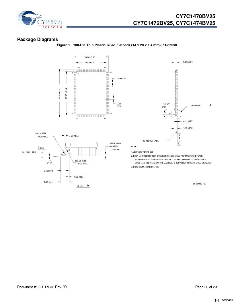 CY7C1470BV25-167BZCT ,Cypress Semiconductor Corp厂商,IC SRAM 72MBIT 167MHZ 165LFBGA, CY7C1470BV25-167BZCT datasheet预览  第26页