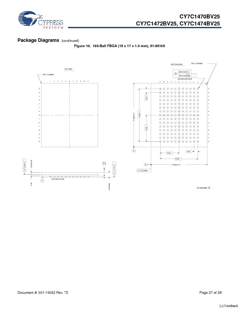 CY7C1470BV25-167BZCT ,Cypress Semiconductor Corp厂商,IC SRAM 72MBIT 167MHZ 165LFBGA, CY7C1470BV25-167BZCT datasheet预览  第27页