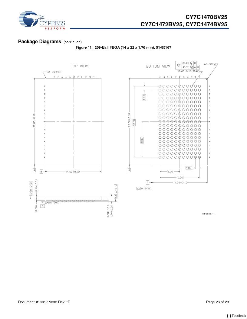 CY7C1470BV25-167BZCT ,Cypress Semiconductor Corp厂商,IC SRAM 72MBIT 167MHZ 165LFBGA, CY7C1470BV25-167BZCT datasheet预览  第28页