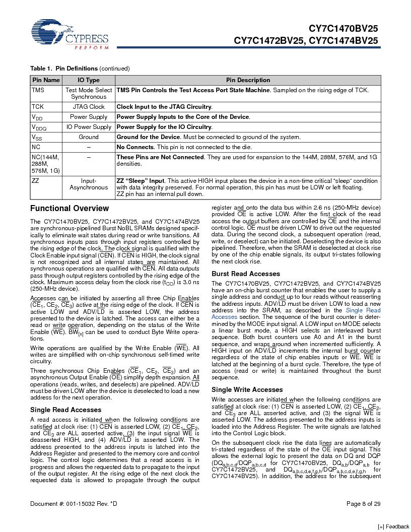 CY7C1470BV25-167BZCT ,Cypress Semiconductor Corp厂商,IC SRAM 72MBIT 167MHZ 165LFBGA, CY7C1470BV25-167BZCT datasheet预览  第8页