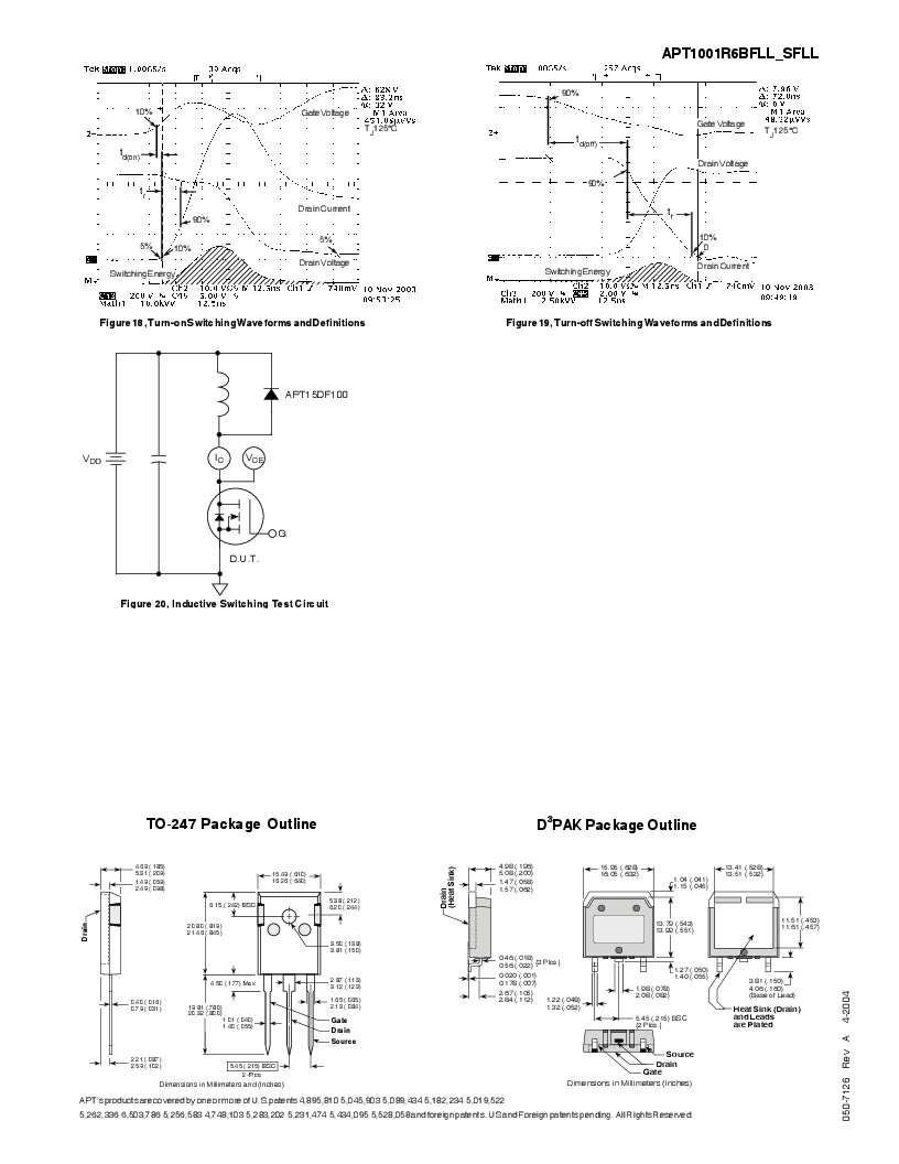 APT1001R6SFLLG ,Microsemi Power Products Group厂商,MOSFET N-CH 1000V 8A D3PAK, APT1001R6SFLLG datasheet预览  第5页