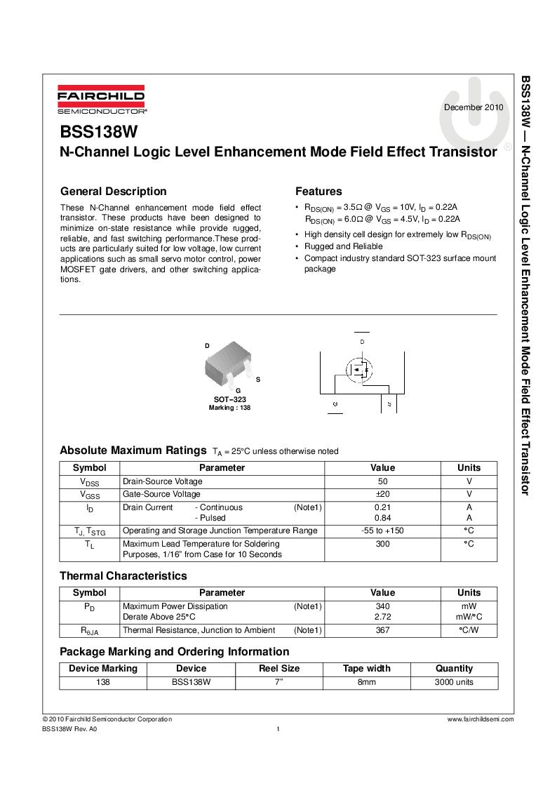 BSS138W ,Fairchild Semiconductor厂商,MOSFET N-CH 50V 21MA SOT323, BSS138W datasheet预览  第1页