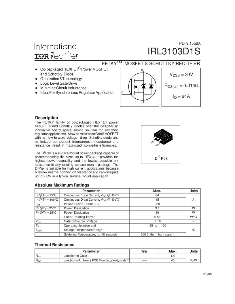 IRL3103D1STRL ,International Rectifier厂商,MOSFET N-CH 30V 64A D2PAK, IRL3103D1STRL datasheet预览  第1页