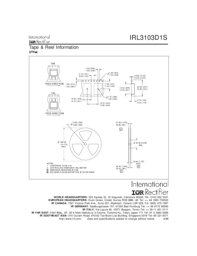 IRL3103D1STRL ,International Rectifier厂商,MOSFET N-CH 30V 64A D2PAK, IRL3103D1STRL datasheet预览  第7页
