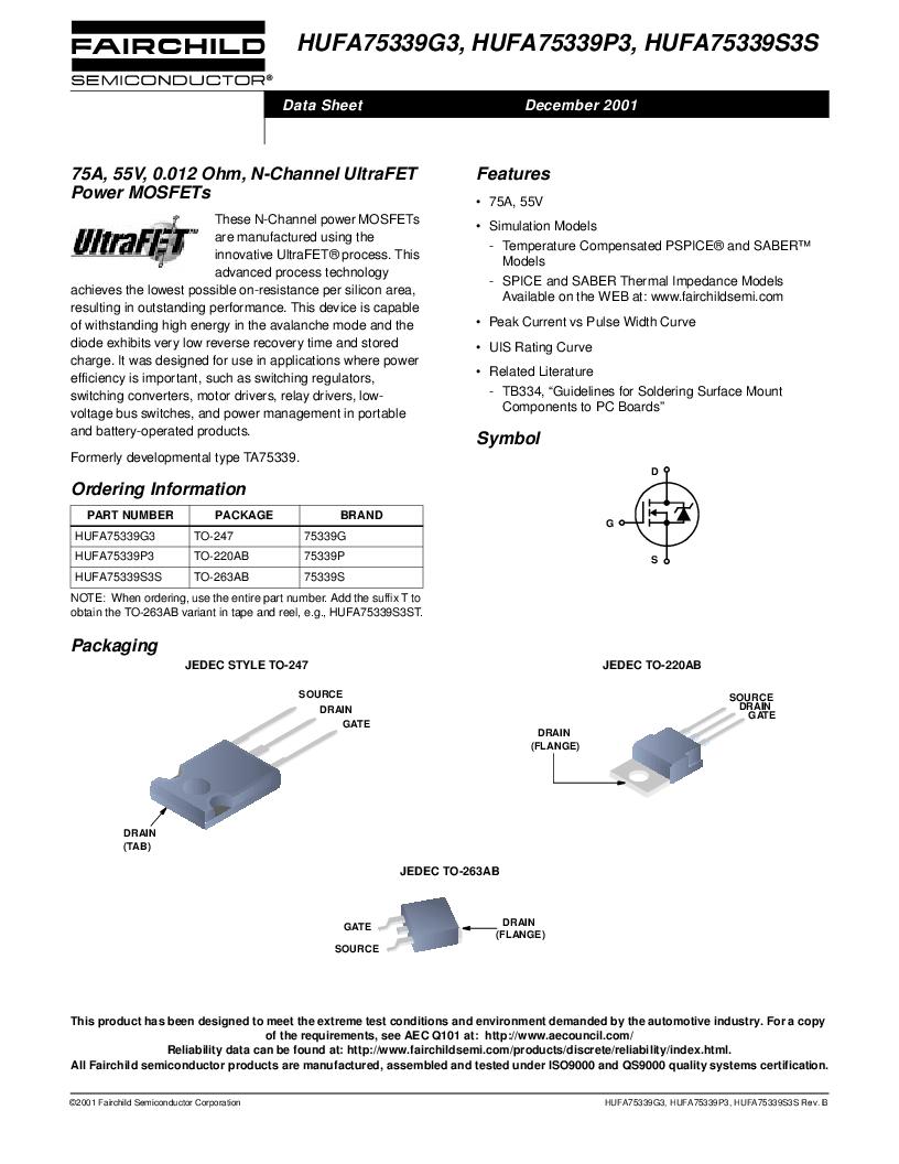 HUFA75339S3S ,Fairchild Semiconductor厂商,MOSFET N-CH 55V 75A D2PAK, HUFA75339S3S datasheet预览  第1页