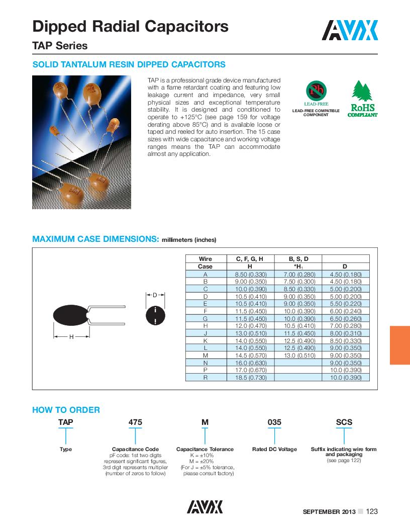 TAP106J016SCS ,AVX厂商,Tantalum Capacitors - Solid Leaded 16V 10uF 5% Radial, TAP106J016SCS datasheet预览  第1页