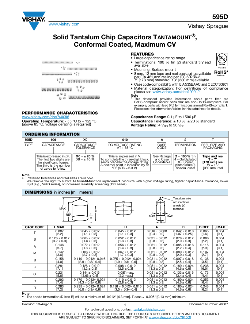 595D225X0020A2W ,Vishay Sprague厂商,CAP TANT 2.2UF 20V 20% 1507, 595D225X0020A2W datasheet预览  第1页