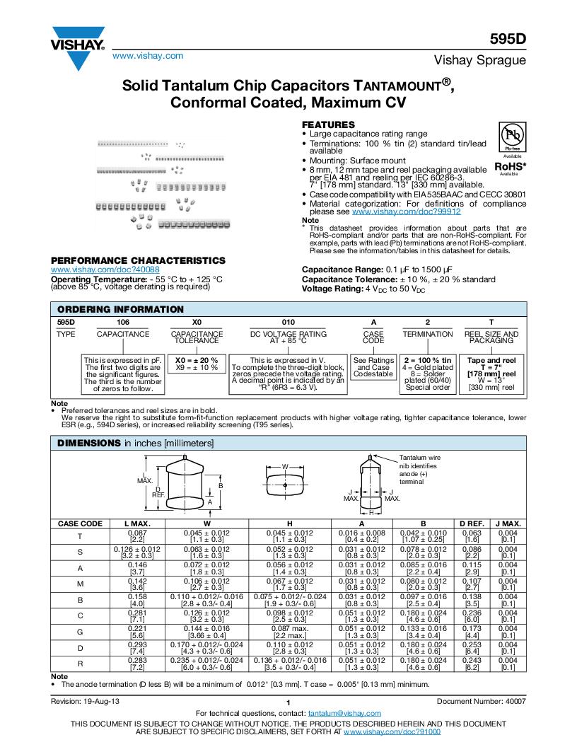 595D475X0016A2W ,Vishay Sprague厂商,CAP TANT 4.7UF 16V 20% 1507, 595D475X0016A2W datasheet预览  第1页