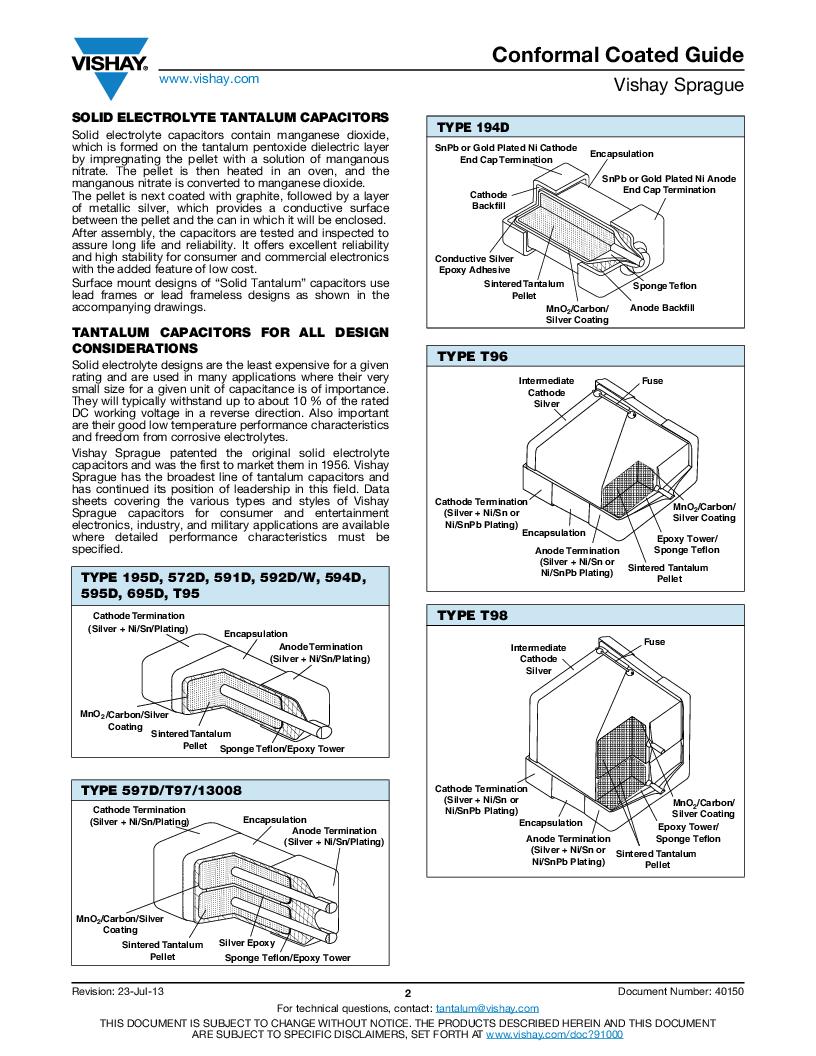 595D475X0016A2W ,Vishay Sprague厂商,CAP TANT 4.7UF 16V 20% 1507, 595D475X0016A2W datasheet预览  第14页