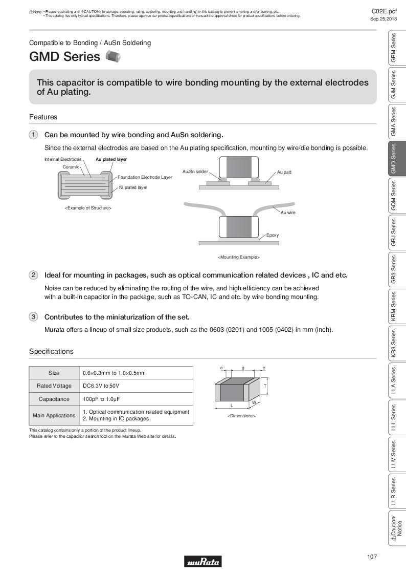 GRM21B7U2A162JZ01L ,Murata厂商,Multilayer Ceramic Capacitors MLCC - SMD/SMT 0.0016uF 100Volts U2J 5%, GRM21B7U2A162JZ01L datasheet预览  第126页