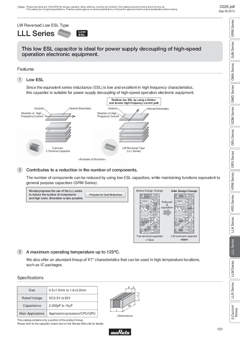 GRM21B7U2A162JZ01L ,Murata厂商,Multilayer Ceramic Capacitors MLCC - SMD/SMT 0.0016uF 100Volts U2J 5%, GRM21B7U2A162JZ01L datasheet预览  第150页