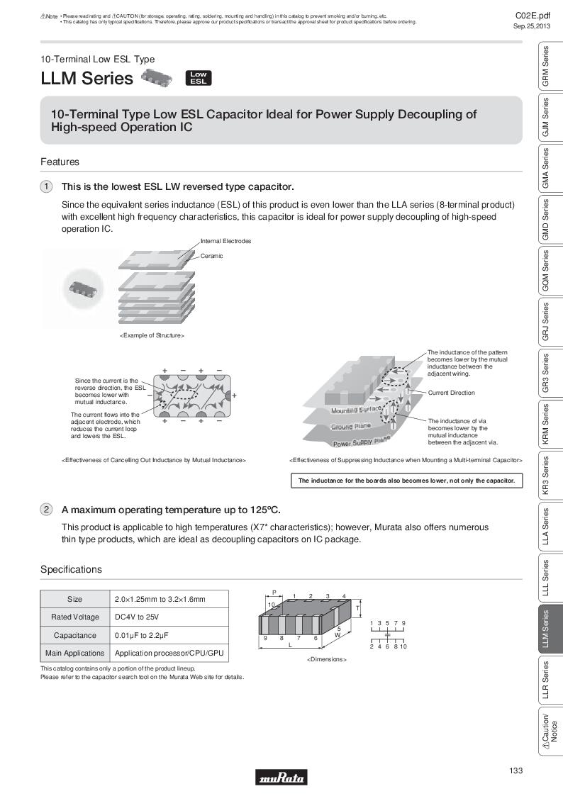 GRM21B7U2A162JZ01L ,Murata厂商,Multilayer Ceramic Capacitors MLCC - SMD/SMT 0.0016uF 100Volts U2J 5%, GRM21B7U2A162JZ01L datasheet预览  第152页