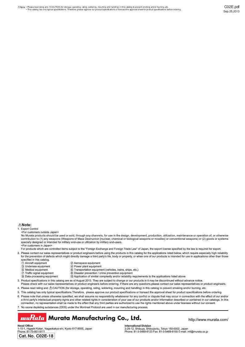GRM21B7U2A162JZ01L ,Murata厂商,Multilayer Ceramic Capacitors MLCC - SMD/SMT 0.0016uF 100Volts U2J 5%, GRM21B7U2A162JZ01L datasheet预览  第182页
