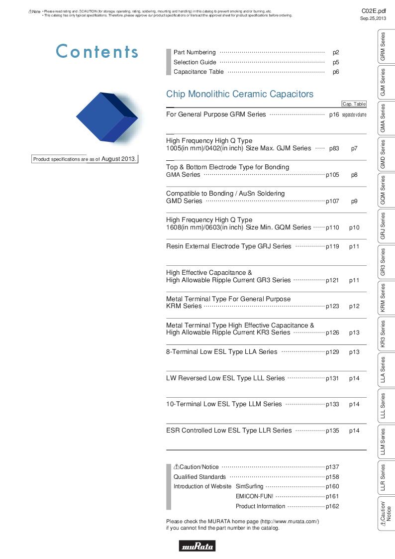 GRM21B7U2A162JZ01L ,Murata厂商,Multilayer Ceramic Capacitors MLCC - SMD/SMT 0.0016uF 100Volts U2J 5%, GRM21B7U2A162JZ01L datasheet预览  第3页