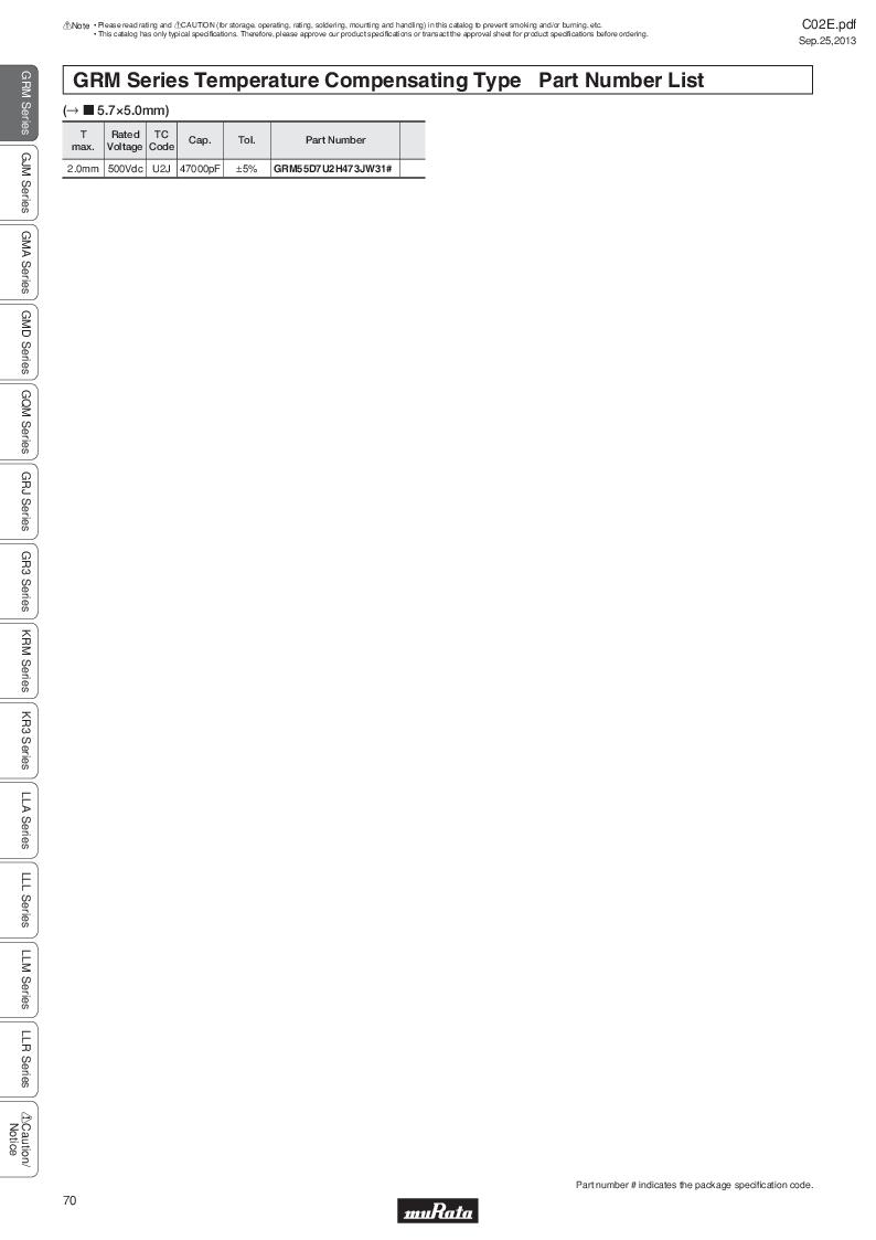 GRM21B7U2A162JZ01L ,Murata厂商,Multilayer Ceramic Capacitors MLCC - SMD/SMT 0.0016uF 100Volts U2J 5%, GRM21B7U2A162JZ01L datasheet预览  第89页