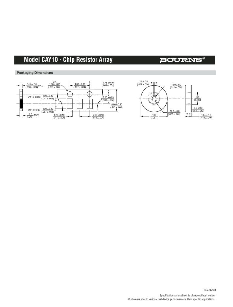 CAY10-222J4LF ,Bourns Inc.厂商,RES ARRAY 2.2K OHM 4 RES 0804, CAY10-222J4LF datasheet预览  第3页