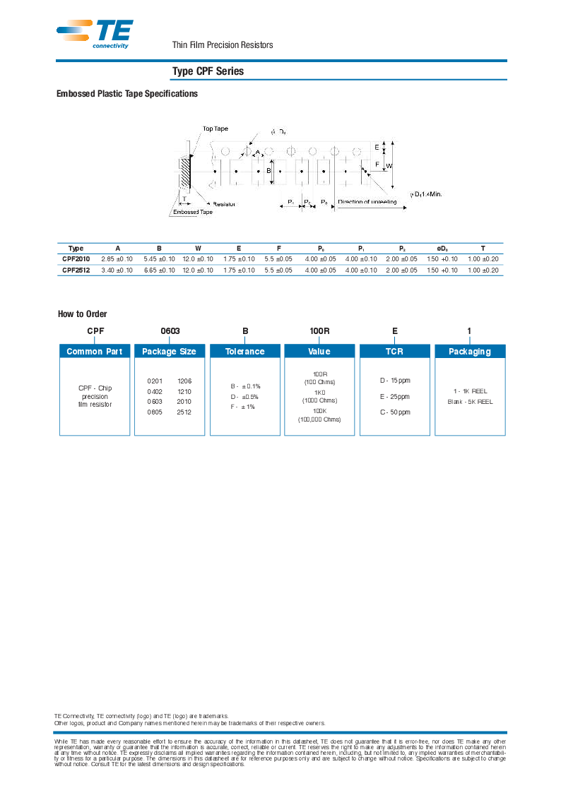1614972-3 ,TE Connectivity厂商,Thin Film Resistors - SMD CPF 1206 97R6 0.1% 25PPM 1K RL, 1614972-3 datasheet预览  第6页