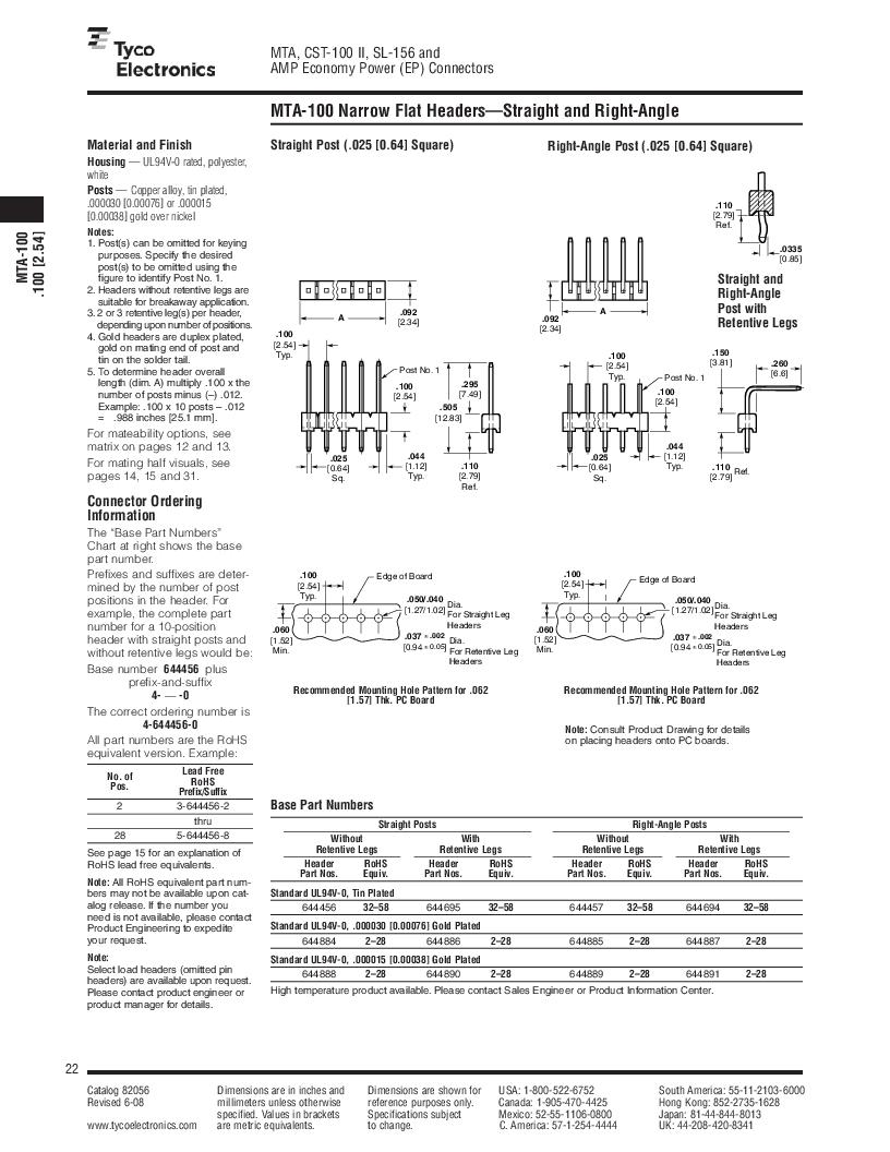 1-640455-4 ,TE Connectivity厂商,Headers & Wire Housings POLARIZED HEADER 14P Right Angle Post tin, 1-640455-4 datasheet预览  第22页