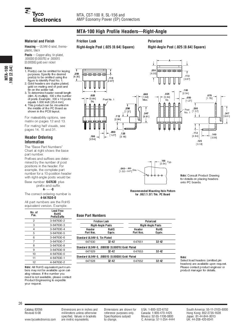 1-640455-4 ,TE Connectivity厂商,Headers & Wire Housings POLARIZED HEADER 14P Right Angle Post tin, 1-640455-4 datasheet预览  第26页