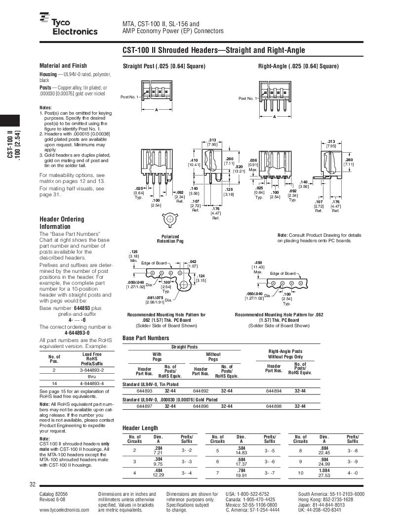 1-640455-4 ,TE Connectivity厂商,Headers & Wire Housings POLARIZED HEADER 14P Right Angle Post tin, 1-640455-4 datasheet预览  第32页