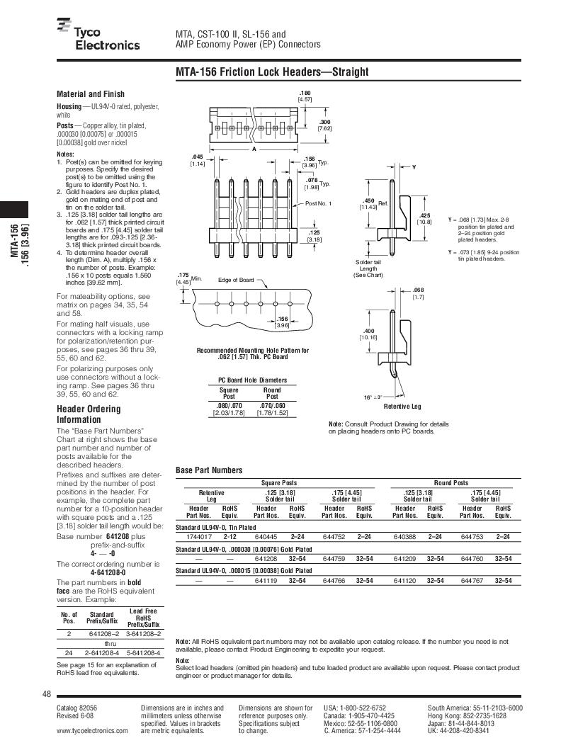 1-640455-4 ,TE Connectivity厂商,Headers & Wire Housings POLARIZED HEADER 14P Right Angle Post tin, 1-640455-4 datasheet预览  第48页