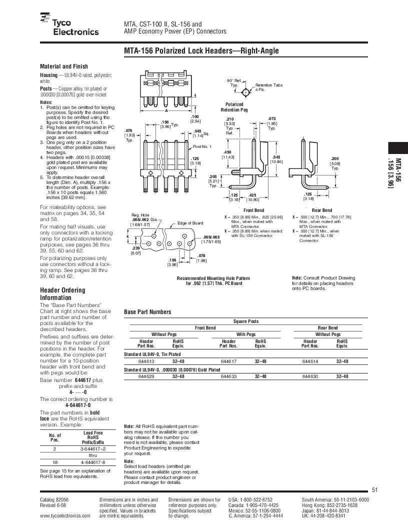 1-640455-4 ,TE Connectivity厂商,Headers & Wire Housings POLARIZED HEADER 14P Right Angle Post tin, 1-640455-4 datasheet预览  第51页
