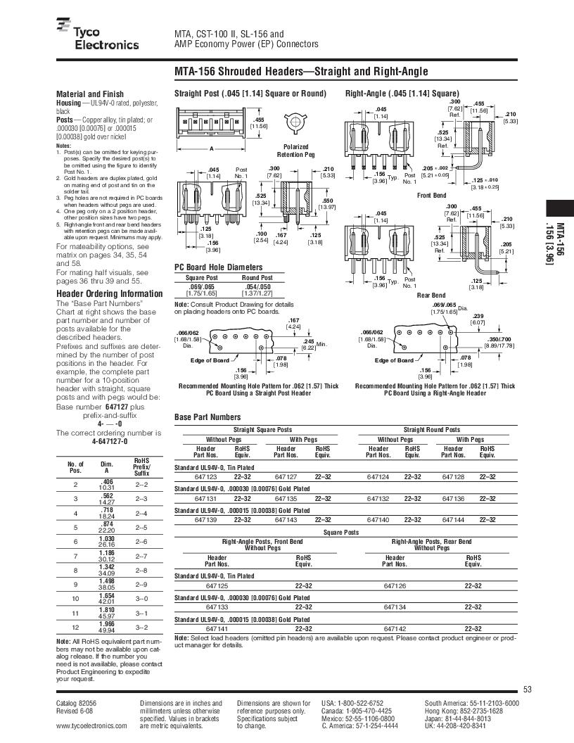 1-640455-4 ,TE Connectivity厂商,Headers & Wire Housings POLARIZED HEADER 14P Right Angle Post tin, 1-640455-4 datasheet预览  第53页