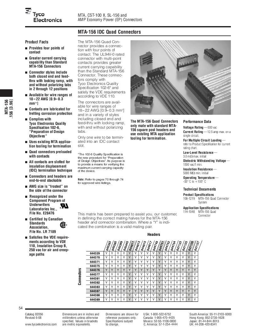 1-640455-4 ,TE Connectivity厂商,Headers & Wire Housings POLARIZED HEADER 14P Right Angle Post tin, 1-640455-4 datasheet预览  第54页