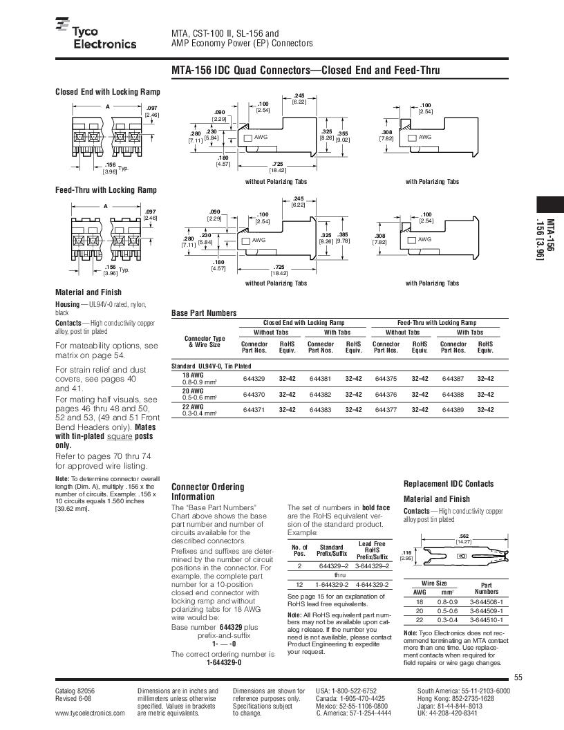 1-640455-4 ,TE Connectivity厂商,Headers & Wire Housings POLARIZED HEADER 14P Right Angle Post tin, 1-640455-4 datasheet预览  第55页