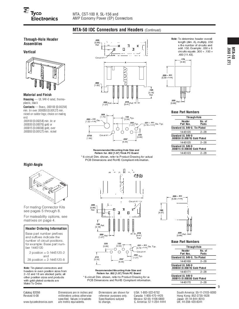 1-640455-4 ,TE Connectivity厂商,Headers & Wire Housings POLARIZED HEADER 14P Right Angle Post tin, 1-640455-4 datasheet预览  第9页