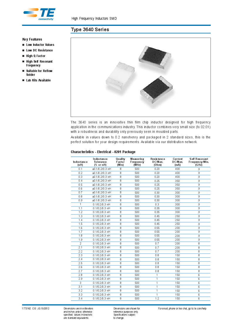 1624109-5 ,TE Connectivity厂商,INDUCTOR 1.5NH 800MA 0603, 1624109-5 datasheet预览  第1页