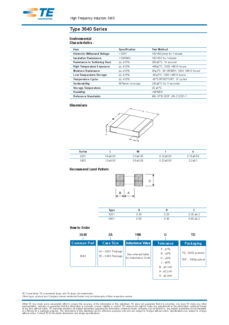 1624109-5 ,TE Connectivity厂商,INDUCTOR 1.5NH 800MA 0603, 1624109-5 datasheet预览  第3页