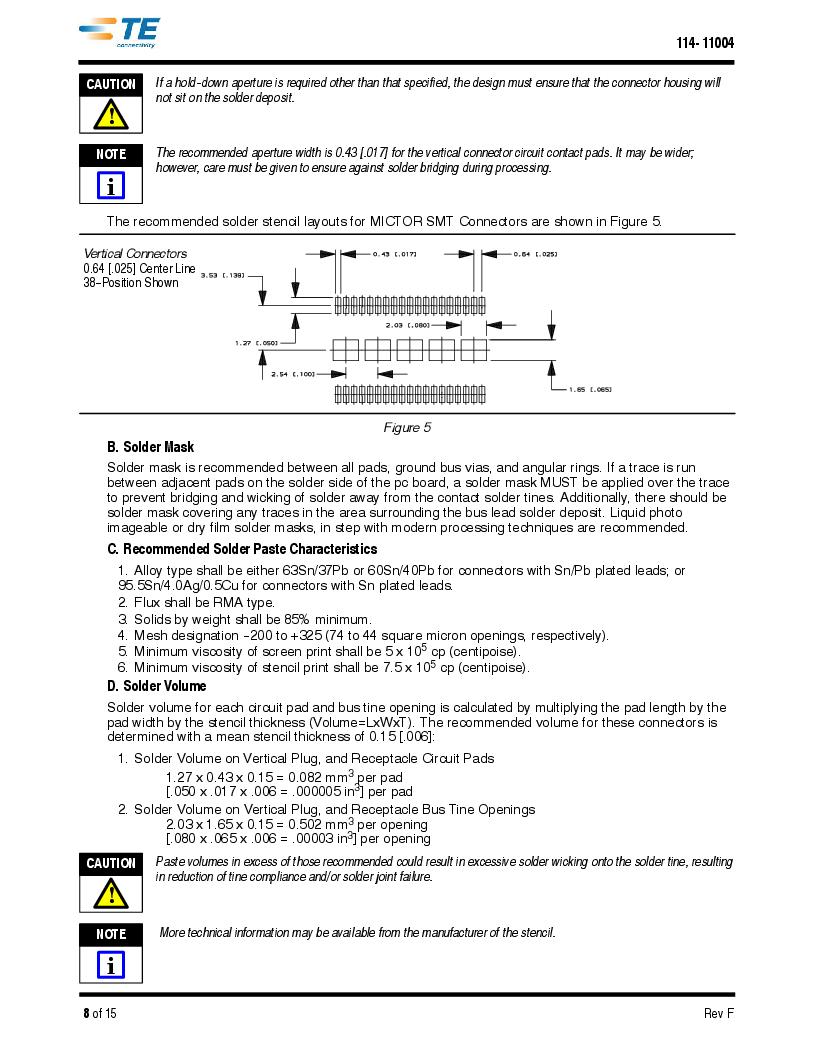 1-5767114-2 ,TE Connectivity厂商,CONN RCPT 190POS VERT BARBLESS, 1-5767114-2 datasheet预览  第8页