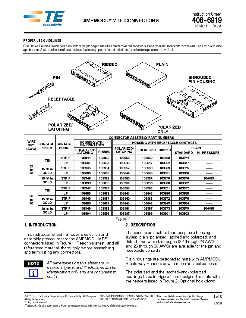 1-103651-4 ,TE Connectivity厂商,Headers & Wire Housings OBSOLETE, 1-103651-4 datasheet预览  第1页