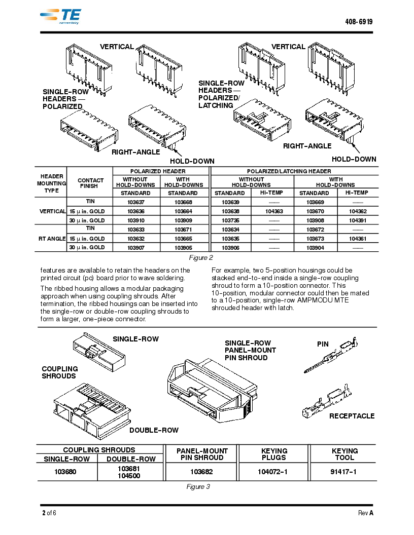 1-103651-4 ,TE Connectivity厂商,Headers & Wire Housings OBSOLETE, 1-103651-4 datasheet预览  第2页