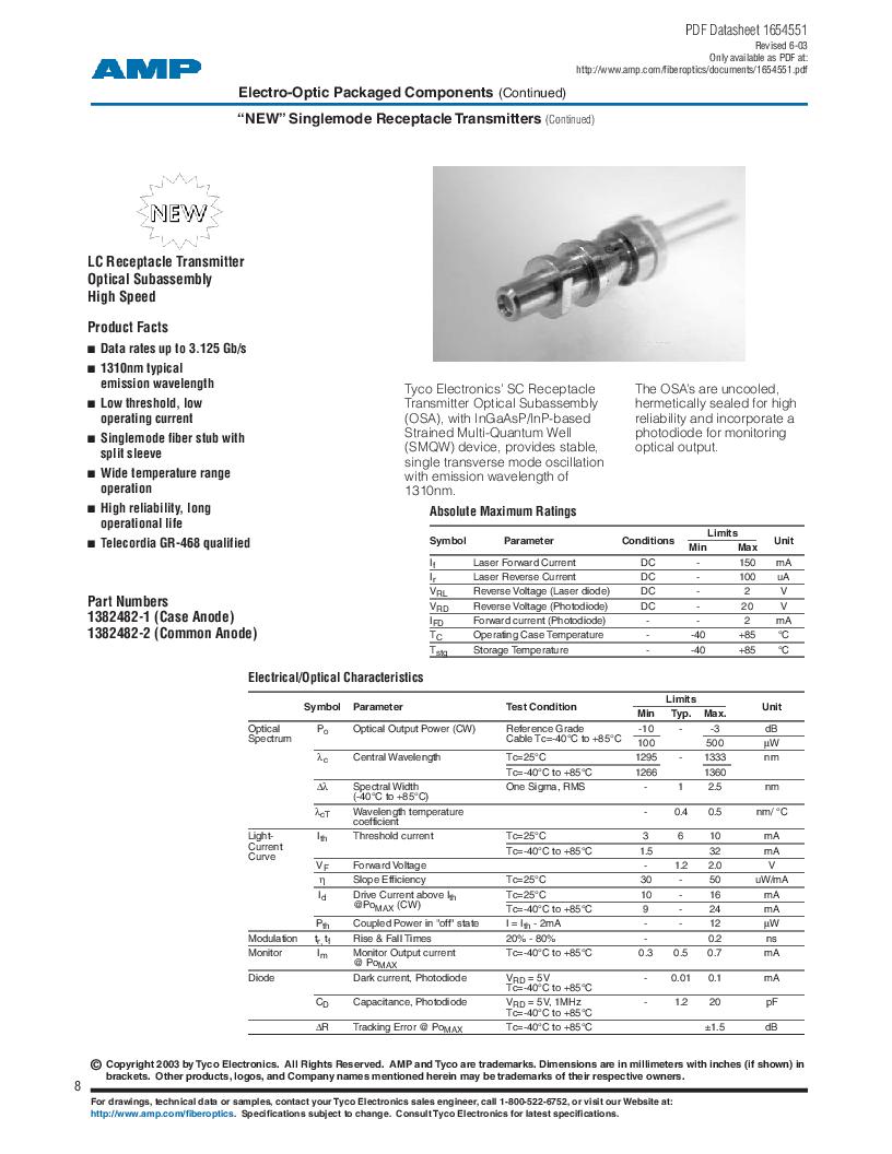 259012-1 ,TE Connectivity厂商,LED 1.3UM ST STYLE STD., 259012-1 datasheet预览  第8页