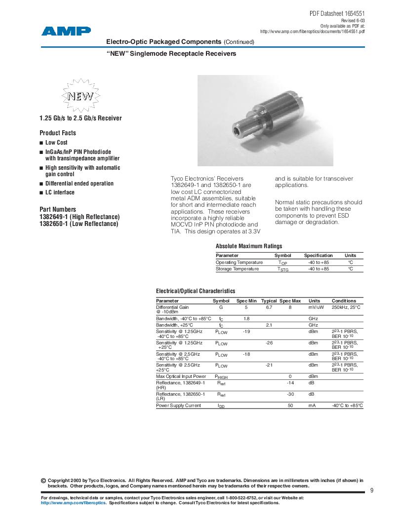 259012-1 ,TE Connectivity厂商,LED 1.3UM ST STYLE STD., 259012-1 datasheet预览  第9页