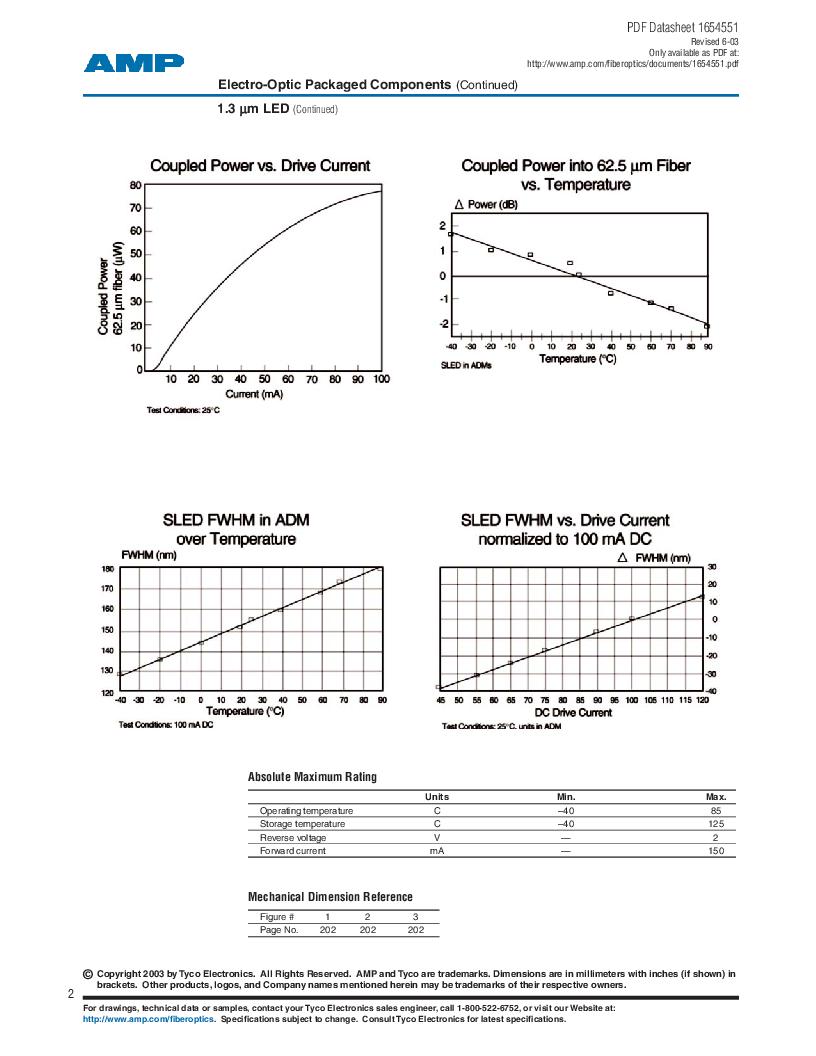 259013-2 ,TE Connectivity厂商,Photodetector Transistors PIN 120UM 2.5MM, 259013-2 datasheet预览  第2页