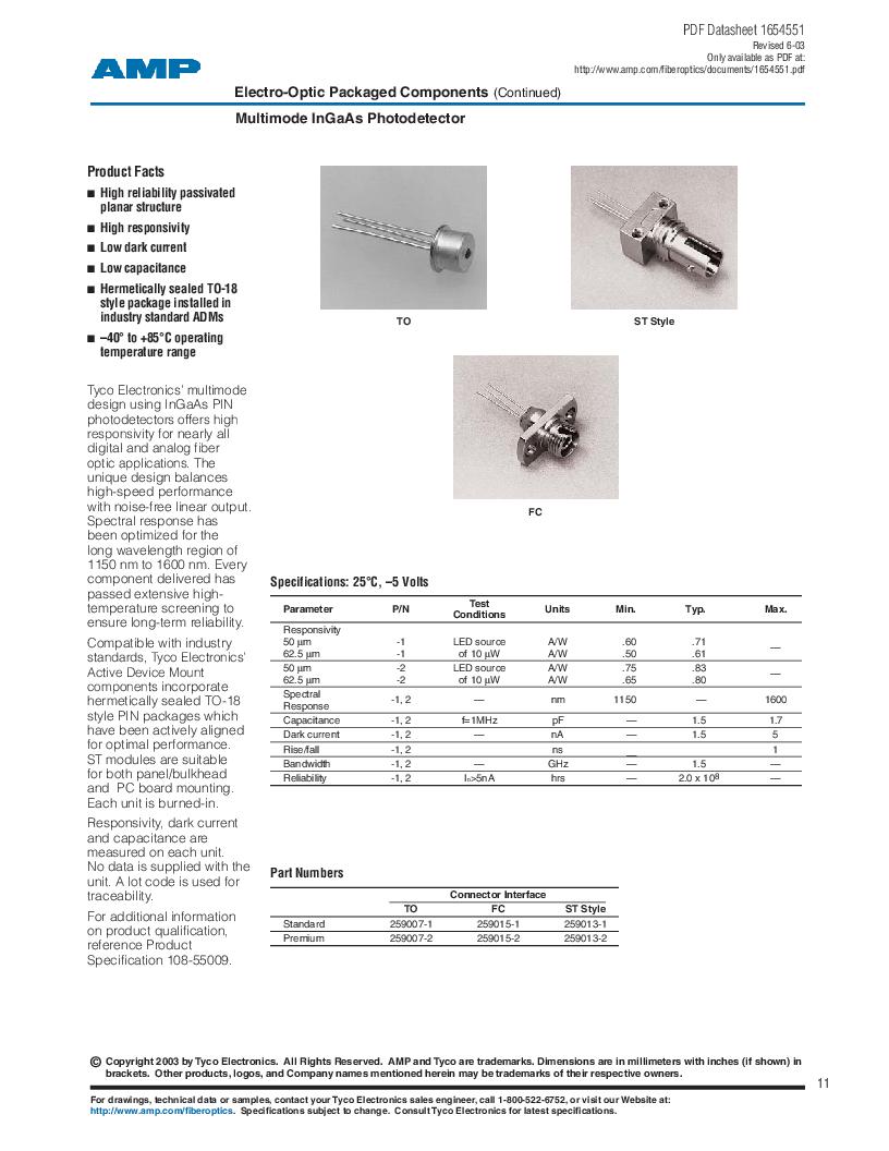 259013-2 ,TE Connectivity厂商,Photodetector Transistors PIN 120UM 2.5MM, 259013-2 datasheet预览  第11页